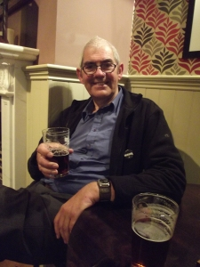 Bari enjoying a pint of crystal clear and delicious Butcombe