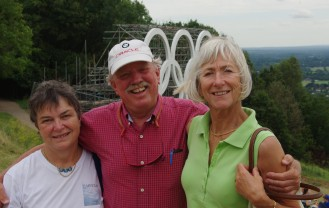 Still buddies, with Wendy's husband, Mac on Box Hill, Surrey